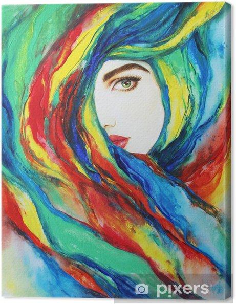 Obraz na płótnie Śliczna kobieta. ilustracja moda. malowanie akrylowe - Ludzie