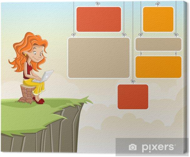 Obraz na płótnie Śliczne dziewczyny cartoon ruda z laptopem na zielony park - Nastolatkowie