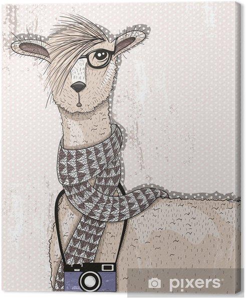 Obraz na płótnie Śliczne hipster lama z aparatu fotograficznego, okulary i szalik - Zwierzęta