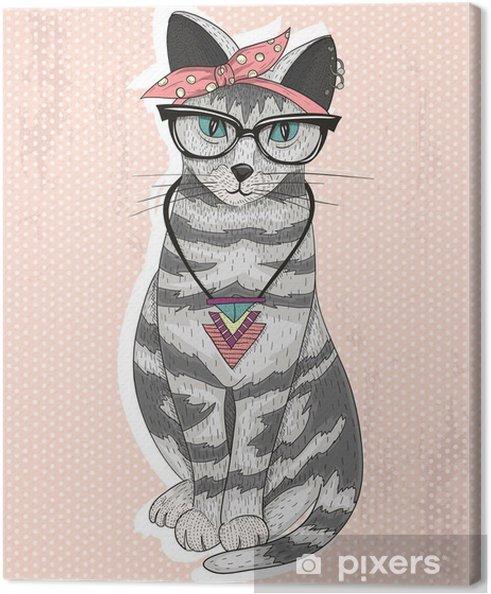 Obraz na płótnie Śliczne hipster rockabilly kot z szalikiem głowy, okulary i necklac -