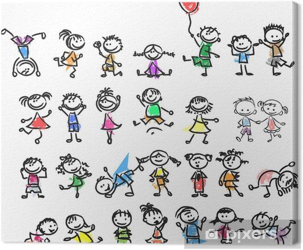 Obraz na płótnie Śliczne szczęśliwe dzieci kreskówka doodle - Dzieci