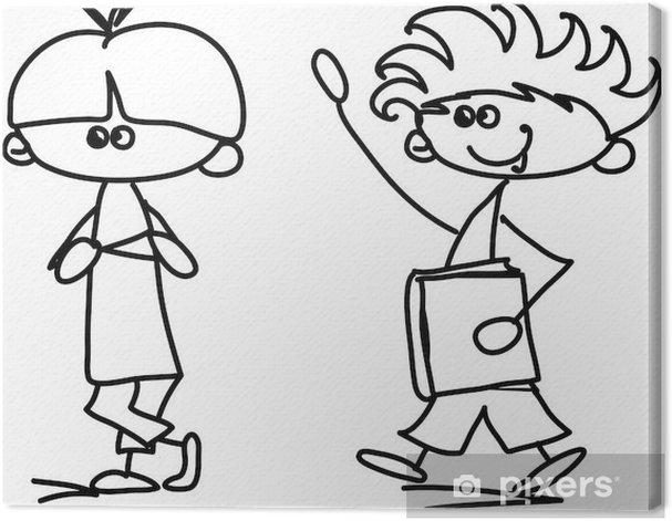 Obraz na płótnie Śliczne szczęśliwe dzieci kreskówki - Dzieci