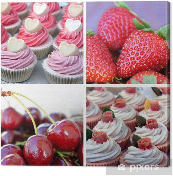 Obraz na płótnie Słodkie cucakes z jagodami. Kolaż z czterech zdjęć - Posiłki