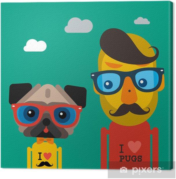 Obraz na płótnie Słodkie i mężczyzna mody hipster pies Mops - Życie