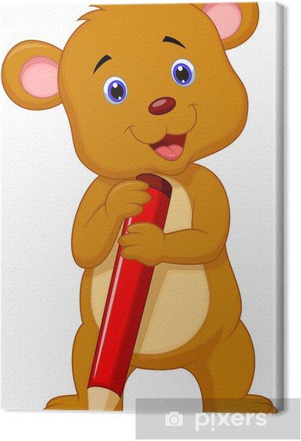 Obraz na płótnie Słodkie Niedźwiedź cartoon gospodarstwa czerwony ołówek - Ssaki