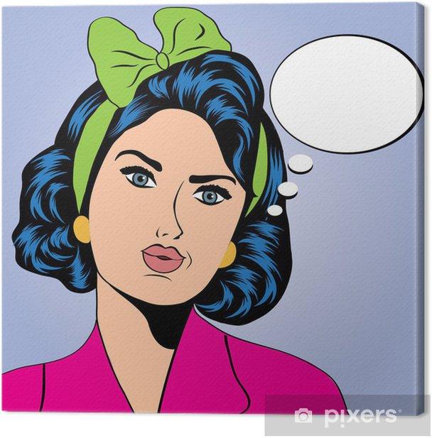 Obraz na płótnie Słodkie retro kobieta w stylu komiksów - Tematy