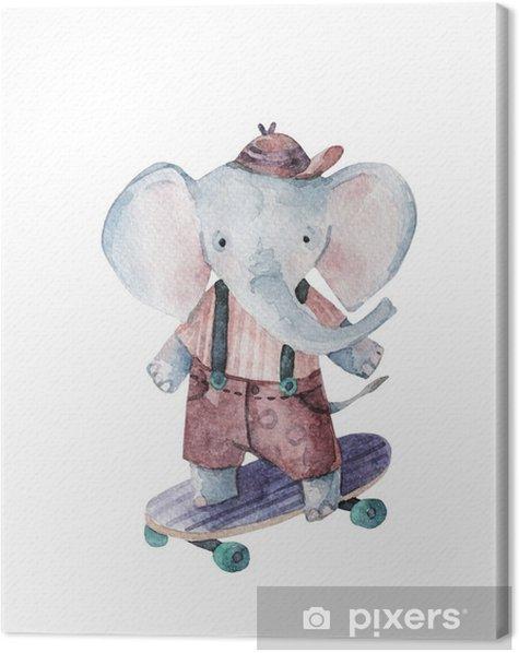 Obraz na płótnie Słodkie słoniątka skateboarding pod słońce tło. - Zwierzęta