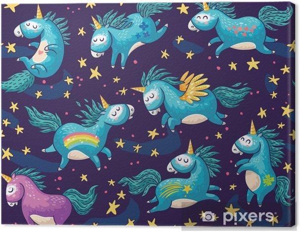 Obraz na płótnie Słodkie szwu z jednorożce na nocnym niebie - Zasoby graficzne