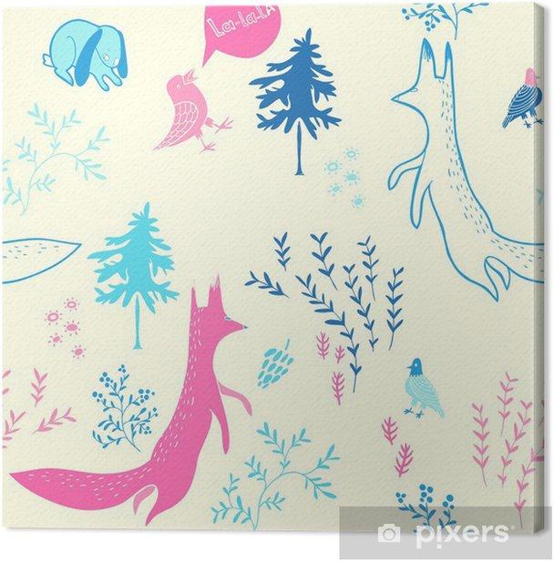 Obraz na płótnie Słodkie zwierzęta w lesie. Szwu. Ręcznie rysowane ilustracji z lisa, królika, ptaków i kwiatów elementów. Naturalne tło wektor wzór. - Do pokoju dziecięcego
