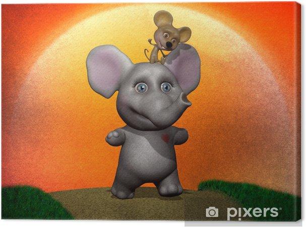 Obraz na płótnie Słoń i mysz Ilustracja prawdziwa przyjaźń - Życie