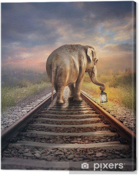 Obraz na płótnie Słoń ze świecącą latarnią. surrealistyczne ilustracji cyfrowych. - Zwierzęta