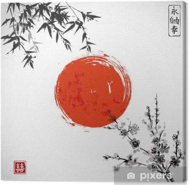 Obraz na płótnie Słońce, bambus i Sakura w kwiat. Tradycyjne japońskie malarstwo tuszem sumi-e. Zawiera hieroglif - podwójne szczęście. - Rośliny i kwiaty