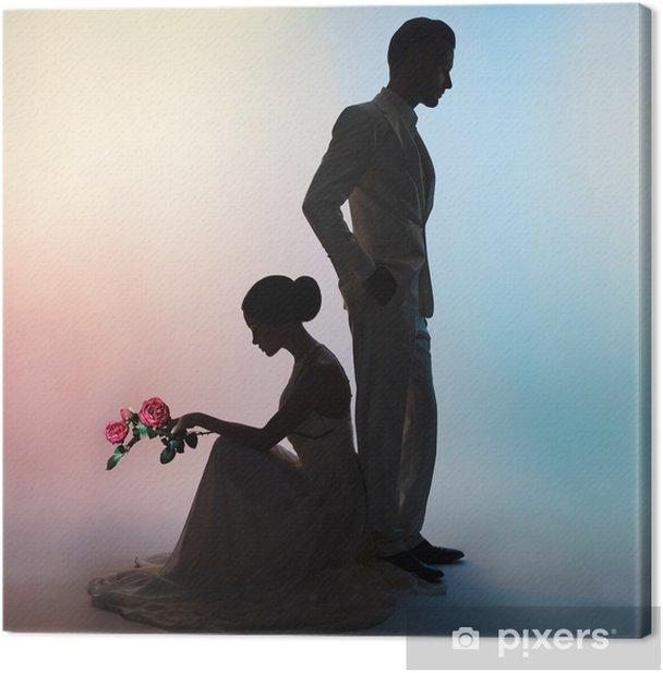 Obraz na płótnie Ślub para sylwetka pana młodego i panna młoda na tle kolorów - Ludzie