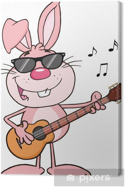 Obraz na płótnie Śmieszne Różowy Królik z okulary gra na gitarze i śpiewa - Święta międzynarodowe