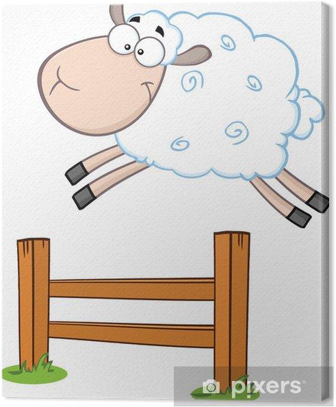 Obraz na płótnie Śmieszne White Sheep Skoki przez płot - Szczęście