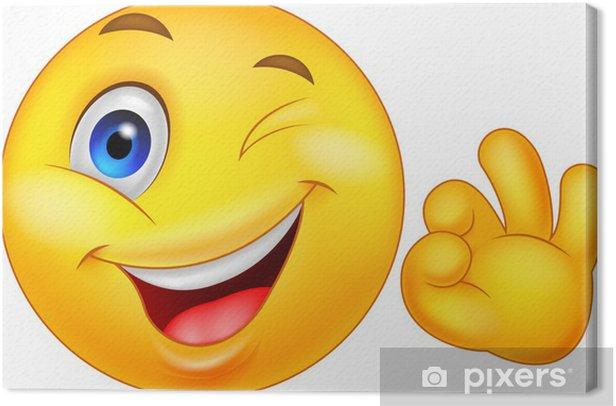 Obraz na płótnie Smiley emotikon z ok podpisania - Szczęście