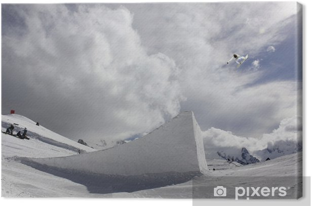 Obraz na płótnie Snowboarder biorąc duży skok powietrza z nieba - Cuda natury