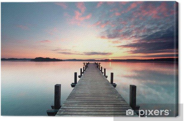 Obraz na płótnie Sommermorgen mit Sonnenaufgang - Woda