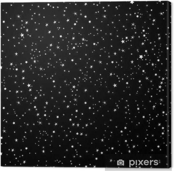 Obraz na płótnie Space tle, nocne niebo i gwiazdy czarno-biały bez szwu wektor wzór - Krajobrazy