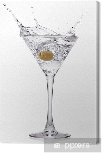 Obraz na płótnie Splash z oliwką w szklance koktajlu. - Alkohol