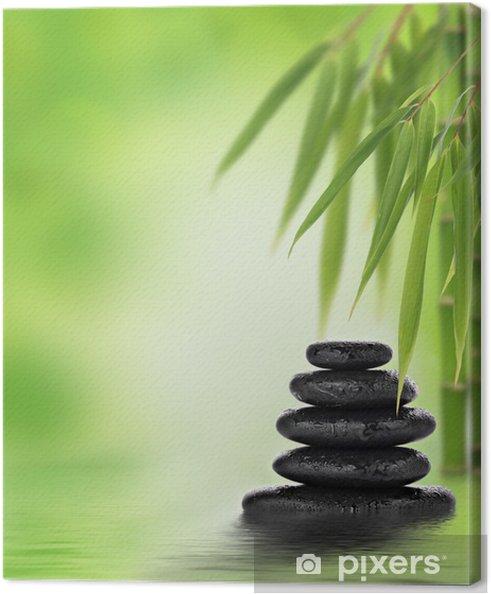 Obraz na płótnie Spokojne zen konstrukcja z ułożonych kamieni do masażu i bambusem - Tematy