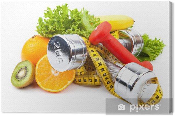 Obraz na płótnie Sprzęt fitness i owoce - Owoce