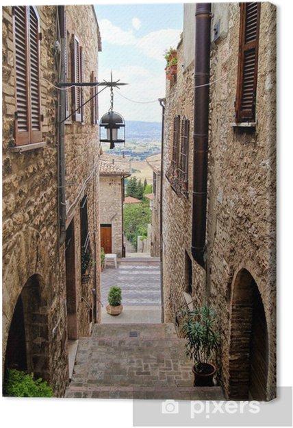 Obraz na płótnie Średniowieczna ulica wszedł we włoskim wzgórzu miasta z Asyżu - Tematy