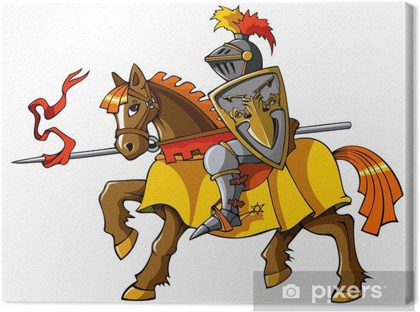 Obraz na płótnie Średniowieczny rycerz na koniu, wektora - Rycerze