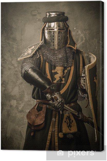 Obraz na płótnie Średniowieczny rycerz z mieczem i tarczą przeciwko mur - Rycerze