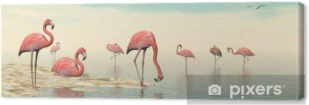 Obraz na płótnie Stado różowych flamingów - 3D render - Ptaki