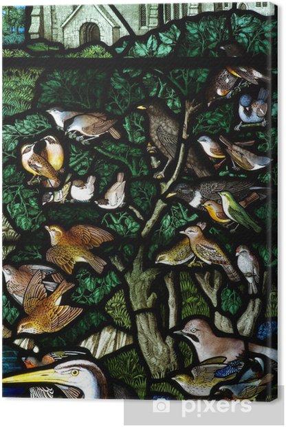 Obraz na płótnie Stained szkła ptaki na drzewie - Ptaki