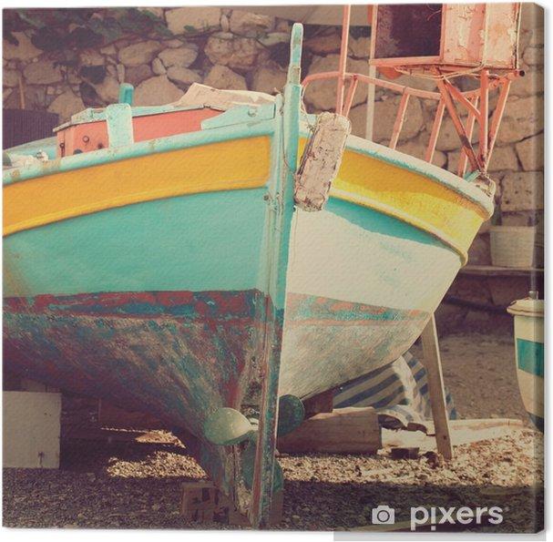 Obraz na płótnie Stara łódź, streszczenie rocznika tle - wrażenia z Grecji - Podróże