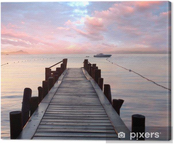 Obraz na płótnie Stare drewniane molo nad Morzem Śródziemnym - Style