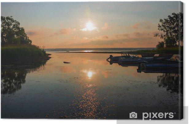 Obraz na płótnie Stare drewniane molo z łodzi (sunrise) - Europa