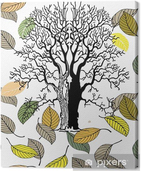 Obraz na płótnie Stare drzewo z listkami w Automn - Drzewa i liście