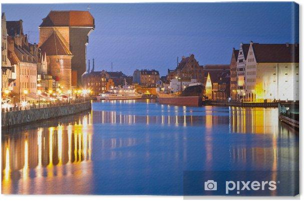 Obraz na płótnie Stare miasto w Gdańsku ze starożytną żurawia w nocy, Polska - Tematy