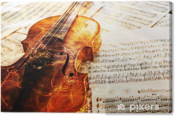 Obraz na płótnie Stare skrzypce leżącego na arkuszu muzyki - Muzyka