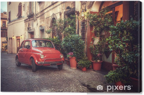 Obraz na płótnie Stare zabytkowe kultowy samochód zaparkowany na ulicy przez restaurację, w - Tematy
