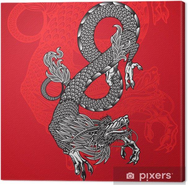 Obraz na płótnie Starożytny chiński smok i czerwone tło, wektor Eps10 obrazu. - Tematy