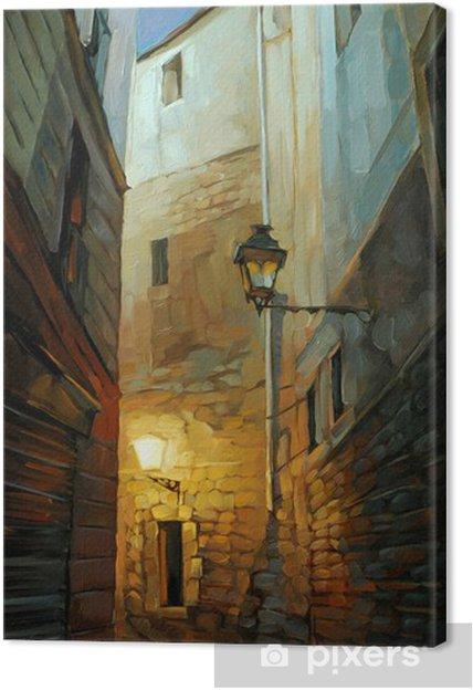 Obraz na płótnie Starożytny nocy ulica w Dzielnicy Gotyckiej, illustrati - Przeznaczenia