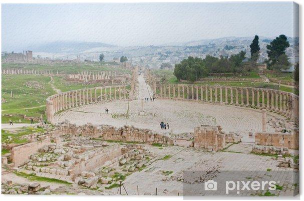 Obraz na płótnie Starożytny rzymski owalne forum w zabytkowe miasta Jerash - Bliski Wschód