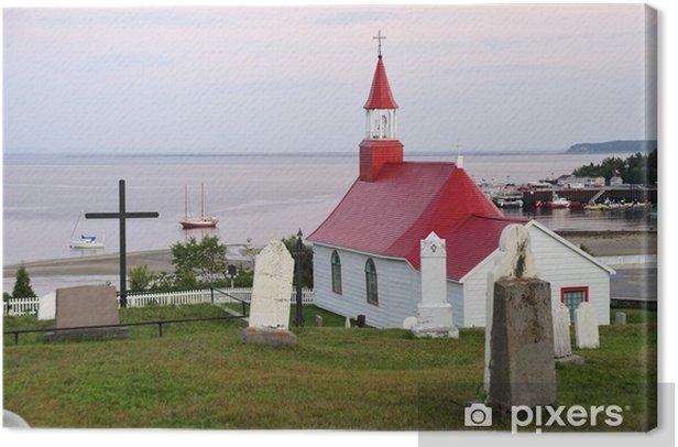 Obraz na płótnie Stary kościół i cmentarz w Tadoussac (Quebec) - Budynki użyteczności publicznej