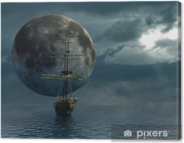Obraz na płótnie Stary statek nad oceanem i księżyc - cyfrowe grafiki - Tematy