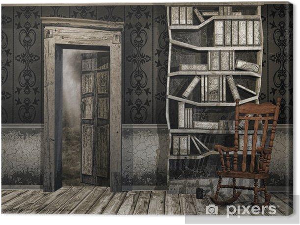 Obraz na płótnie Stary zakurzony pokój z fotelem bujanym i książkami - Tekstury