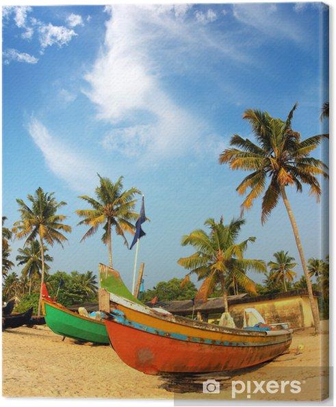 Obraz na płótnie Starych łodzi rybackich na plaży w Indiach - Azja
