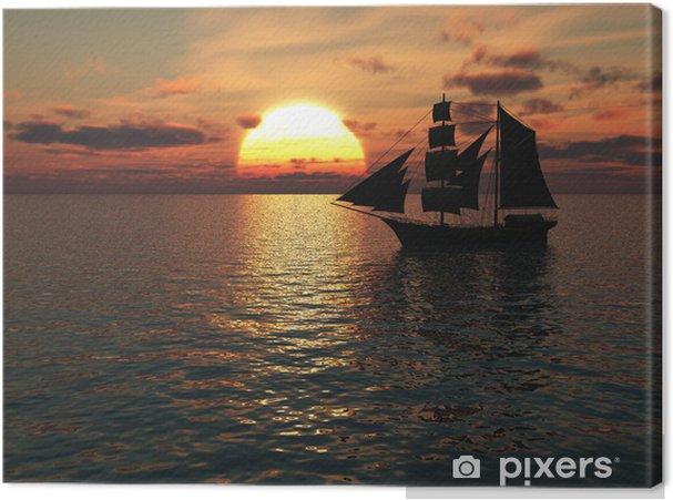 Nowoczesna architektura Obraz na płótnie Statek na morzu o zachodzie słońca. • Pixers ZV33