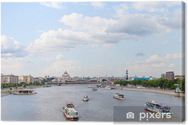 Obraz na płótnie Statki wycieczkowe w Moskva Rive, Moskwie - Pejzaż miejski