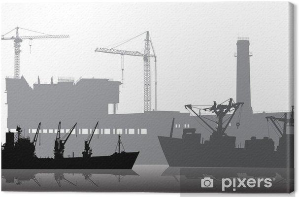 Obraz na płótnie Statków na tle przemysłowych - Transport wodny