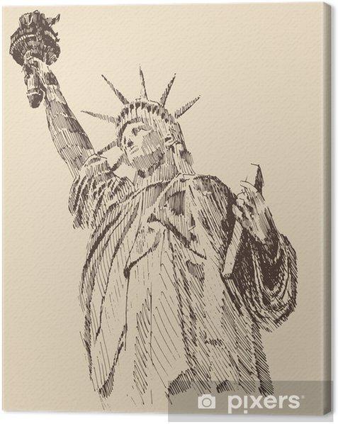 Obraz na płótnie Statua Wolności wyciągnąć rękę rocznika grawerowane ilustracji - Zabytki