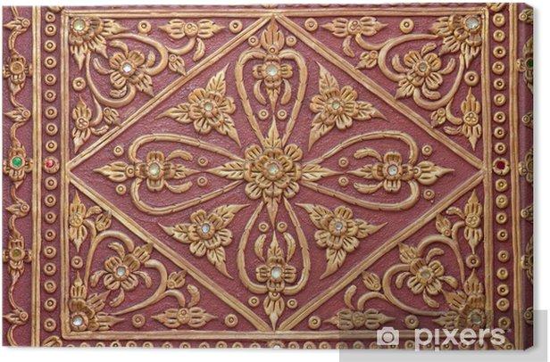 Obraz na płótnie Stiuk złoty czerwony wzór tle ściany świątyni - Tekstury